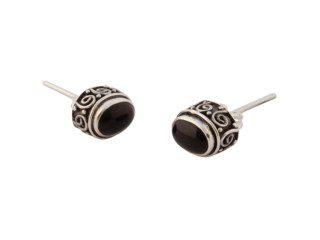 Balinese zilveren oorknopjes met onyx