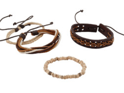 Brede leren armband uit Tibet met touw en houten kralen