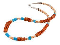 Indianen ketting van spondylus, koraal en turkoois