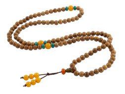Mala uit Nepal van wengé hout, agaat en turkoois