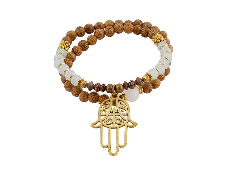 Tibetaanse kralen armband met hamsa handje