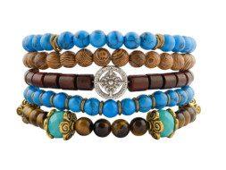 Tibetaanse kralen armbanden van turkoois, hout en tijgeroog