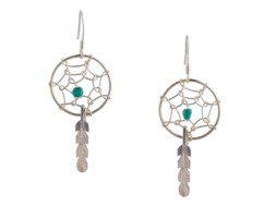 Zilveren dromenvanger oorbellen met turkoois