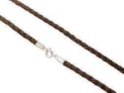 Bruin gevlochten leren ketting met een zilveren sluiting