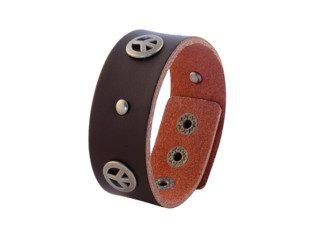 Bruine leren armband met vredessymbolen
