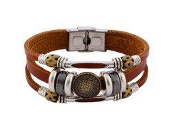 Leren armband met messing reliefknoop en kralen