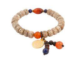 Armband met bodhi kralen en rood agaat