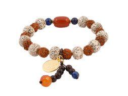 Armband met rode jaspis, bodhi en rudraksha kralen