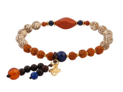 Armband met rode jaspis, rudraksha en bodhi kralen
