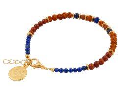 Armband met rode jaspis, rudraksha en lapis lazuli
