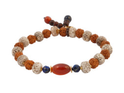 Armband met rood agaat, rudraksha en bodhi kralen