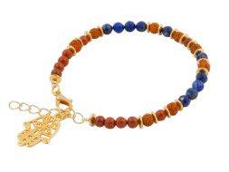Armband met rudraksha, lapis lazuli en jaspis