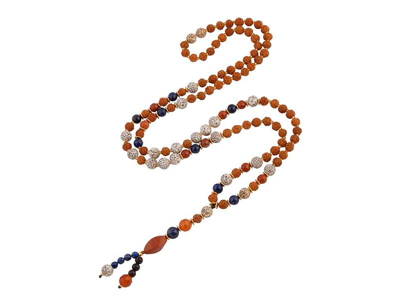 Ketting met edelstenen, bodhi en rudraksha kralen