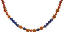 Ketting met rudraksha, lapis lazuli, jaspis en bedeltje