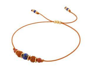 Koperbruine satijnen armband met lapis lazuli