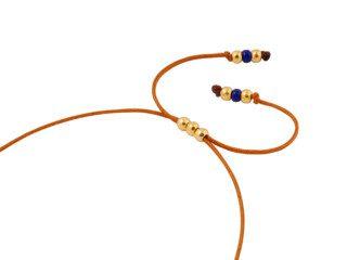Koperbruine satijnen ketting met lapis lazuli