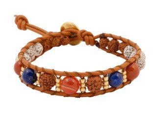 Wrap armband met rudraksha, lapis lazuli en bodhi kralen