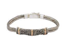Zilveren Tulang Naga schakelarmband met gouden accenten uit Bali
