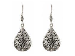 Balinese zilveren druppelvormige oorbellen
