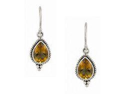 Balinese zilveren oorbellen met citrien