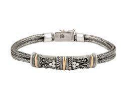 Balinese zilveren tulang naga schakelarmband met gouden accenten