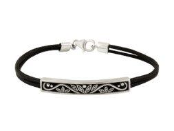 Leren armband met zilveren lotusbloem