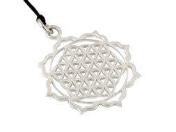 Zilveren flower of life hanger met waxkoord uit Bali