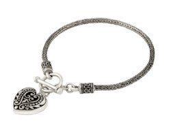 Zilveren schakelarmband met hart uit Bali