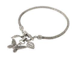 Zilveren schakelarmband met vlinder uit Bali