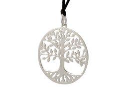 Zilveren tree of life hanger met waxkoord uit Bali